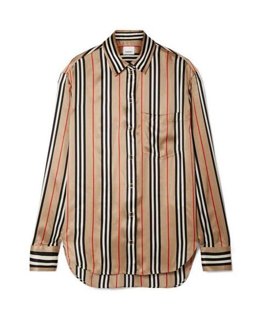 0432be22d90de7 Burberry - Natural Striped Silk-satin Shirt - Lyst ...