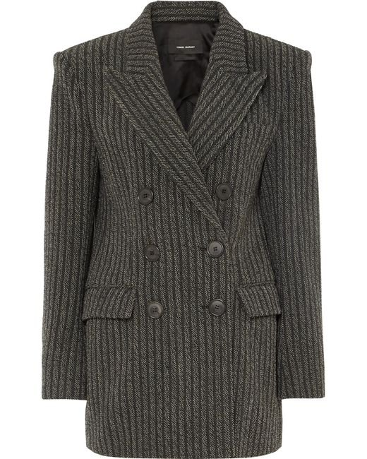 Isabel Marant - Gray Double Breasted Coat - Lyst