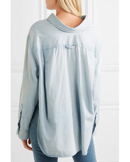 Azul Lyst de Algodón Cambray de Camisa Balenciaga HRPTqwx