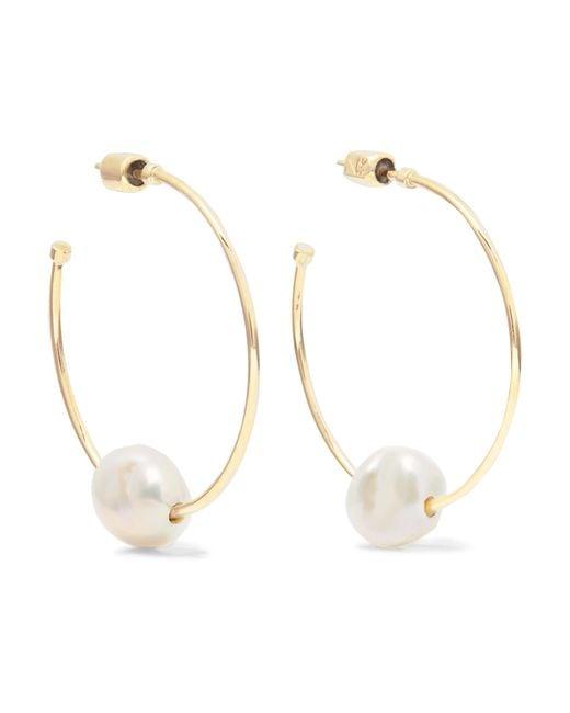 Meadowlark - Metallic 9-karat Gold Pearl Hoop Earrings - Lyst