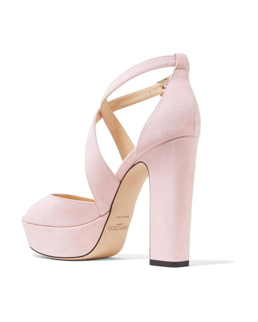 2f34271358db ... Jimmy Choo - Pink April 120 Suede Platform Sandals - Lyst ...