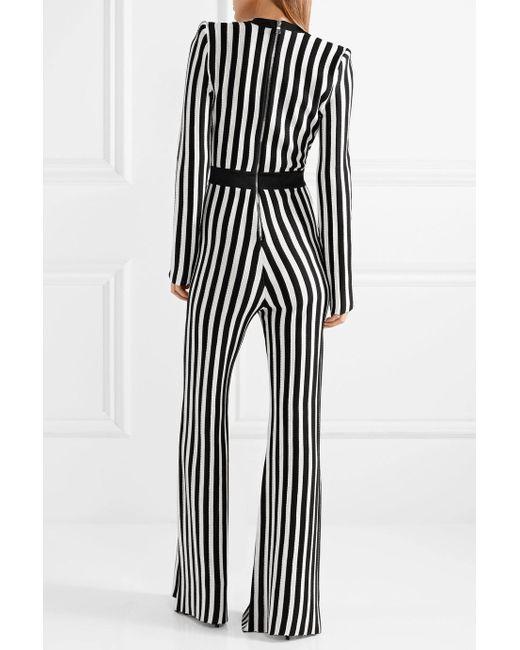 Wrap-effect Striped Stretch-knit Jumpsuit - Black Balmain Buy Cheap Best Place IiLJA5