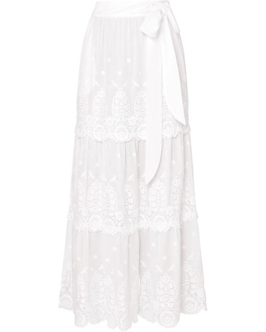 Miguelina - White Carin Tiered Crocheted Cotton Skirt - Lyst
