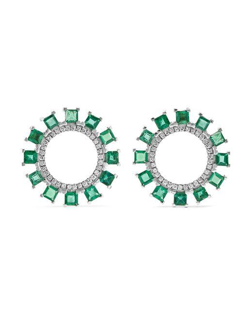 Ileana Makri - Green Sun 18-karat White Gold, Emerald And Diamond Earrings - Lyst