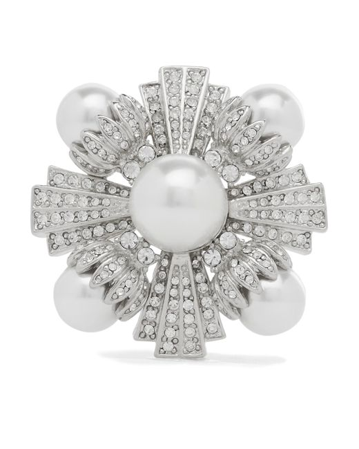 Kenneth Jay Lane - Metallic Rhodium-plated, Faux Pearl And Crystal Brooch - Lyst