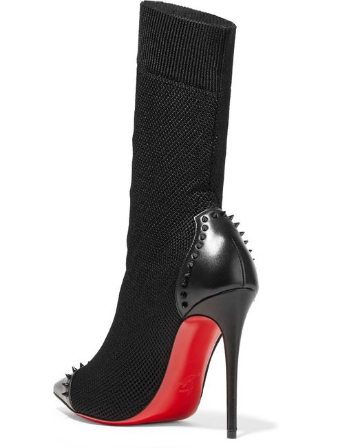 0158a5c3e884 ... Christian Louboutin - Black Dovi Dova 100 Studded Leather-trimmed  Stretch-knit Sock Boots ...