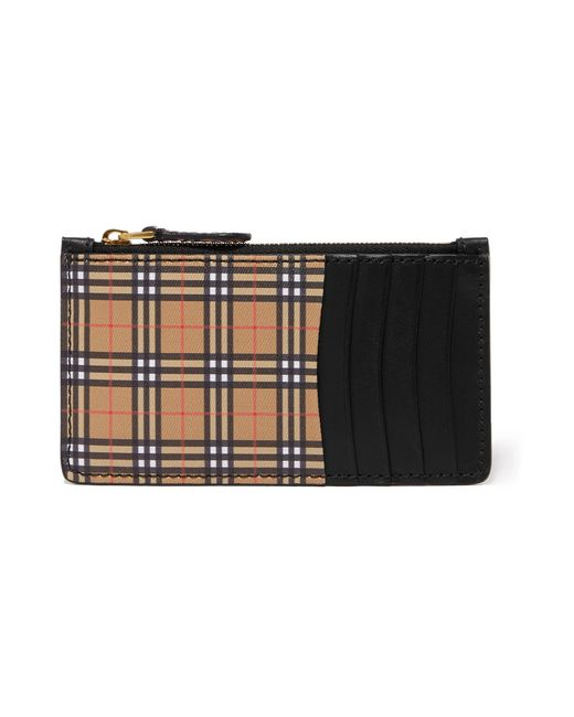 Burberry - Natural Checked Canvas And Leather Cardholder - Lyst