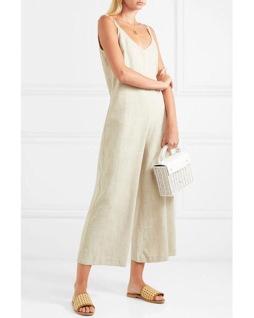 Phoenix Shell-embellished Linen-blend Jumpsuit - Beige Staud Ebay Online CrpL4Eb