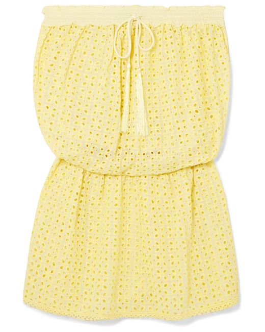 Melissa Odabash - Yellow Adela Broderie Anglaise Mini Dress - Lyst