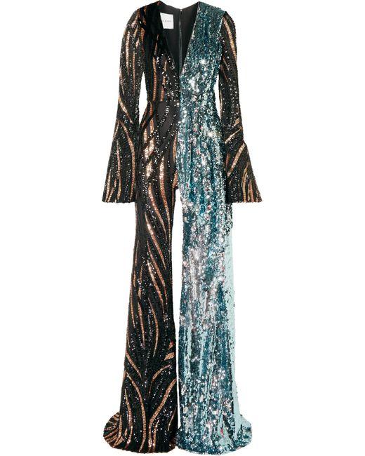 Halpern - Black Tiger-print Sequined Tulle Jumpsuit - Lyst