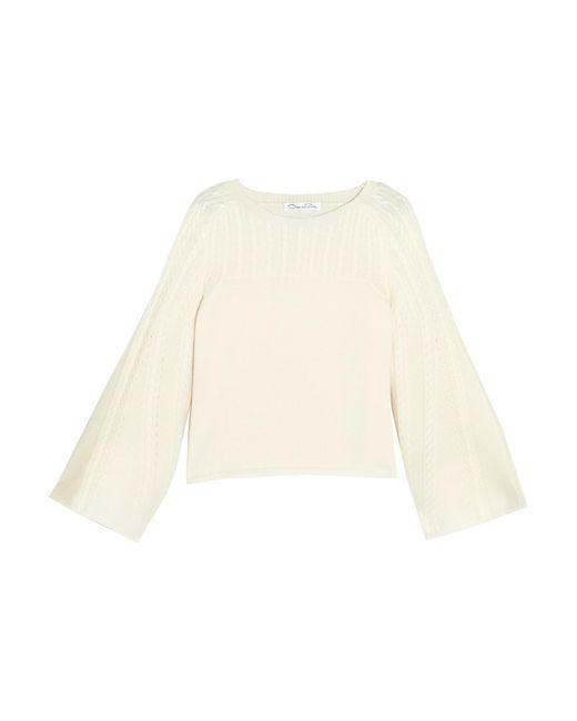 Oscar de la Renta   White Pointelle-trimmed Cable-knit Wool Sweater   Lyst