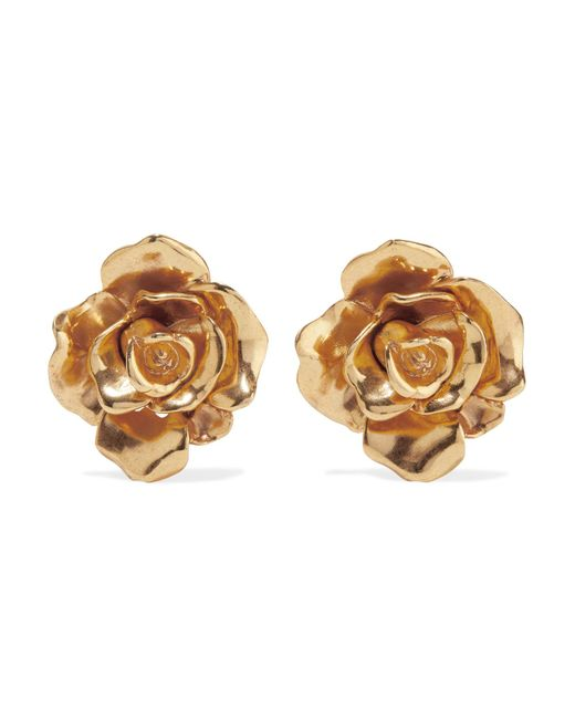 Oscar de la Renta | Metallic Rosette Gold-tone Clip Earrings | Lyst