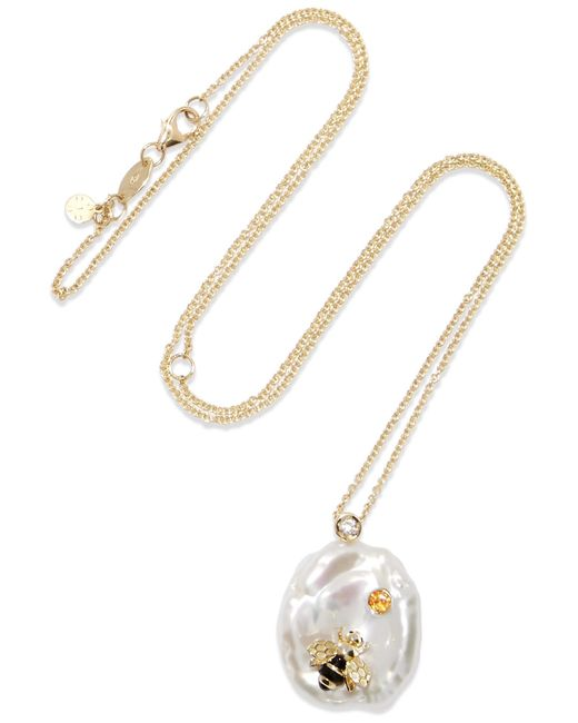 Of Rare Origin - White Bee My Honey Gold Multi-stone Necklace - Lyst