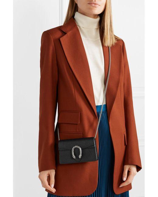 a716bb68a6c ... Gucci - Black Dionysus Super Mini Textured-leather Shoulder Bag - Lyst  ...