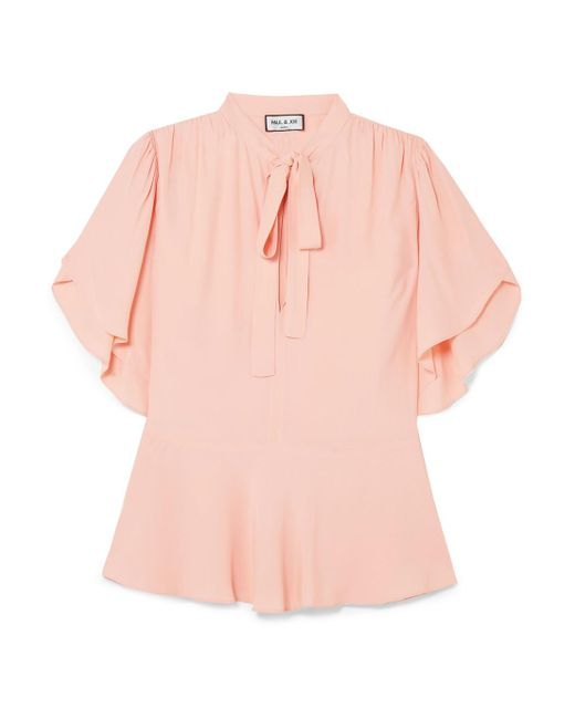 Paul & Joe - Pink Pussy-bow Crepe De Chine Peplum Blouse - Lyst