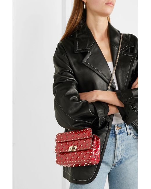 ... Valentino - Red Garavani The Rockstud Spike Small Quilted Patent-leather  Shoulder Bag - Lyst ... 5434d55896