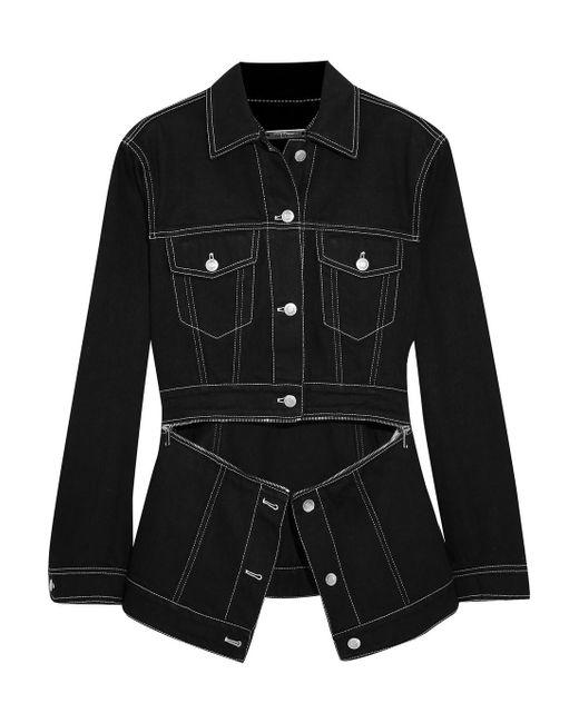 Women's Black Zip Detailed Denim Jacket by Alexander Mc Queen