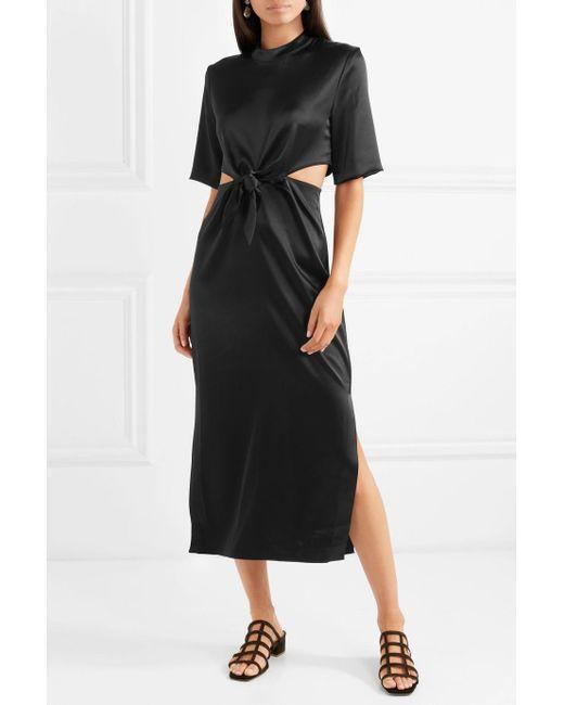 Bhumi satin cutout midi dress - Black Nanushka X4q5XtZyaj