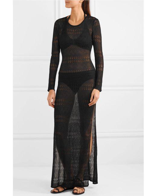 Melissa Open-back Pointelle-knit Maxi Dress - Black Melissa Odabash BEmPU7d