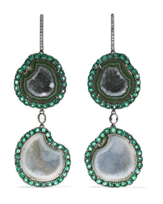 Kimberly Mcdonald - Metallic 18-karat Blackened White Gold Multi-stone Earrings Gold One Size - Lyst
