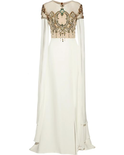 Reem Acra | White Embellished Tulle-paneled Silk Gown | Lyst