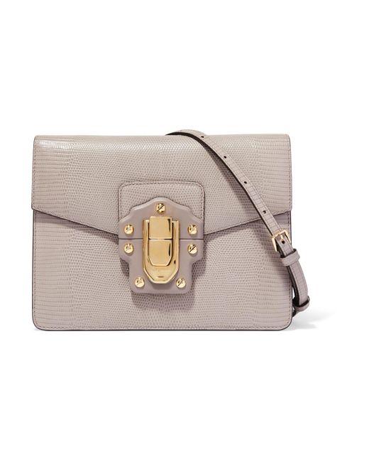 Dolce & Gabbana | Gray Lucia Lizard-effect Leather Shoulder Bag | Lyst