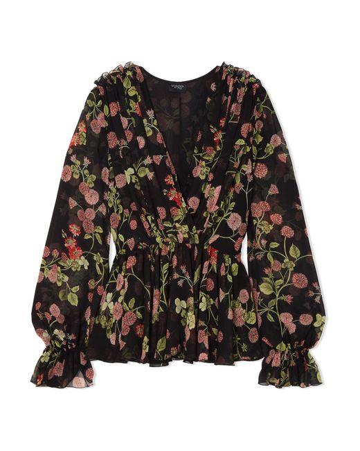 Giambattista Valli - Black Wrap-effect Floral-print Silk-georgette Blouse - Lyst