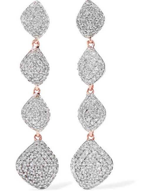 Monica Vinader - Metallic Nura Teardrop 18ct Rose-gold Vermeil And Diamond Earrings - Lyst