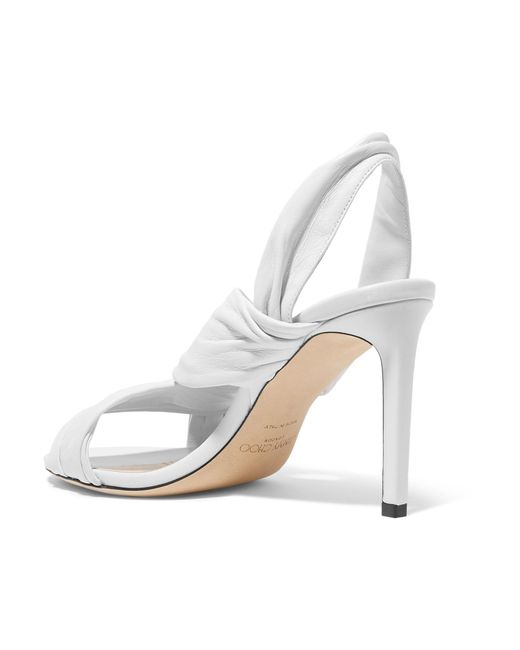 0b30feb077ce ... Jimmy Choo - White Leila 85 Knotted Leather Slingback Sandals - Lyst ...
