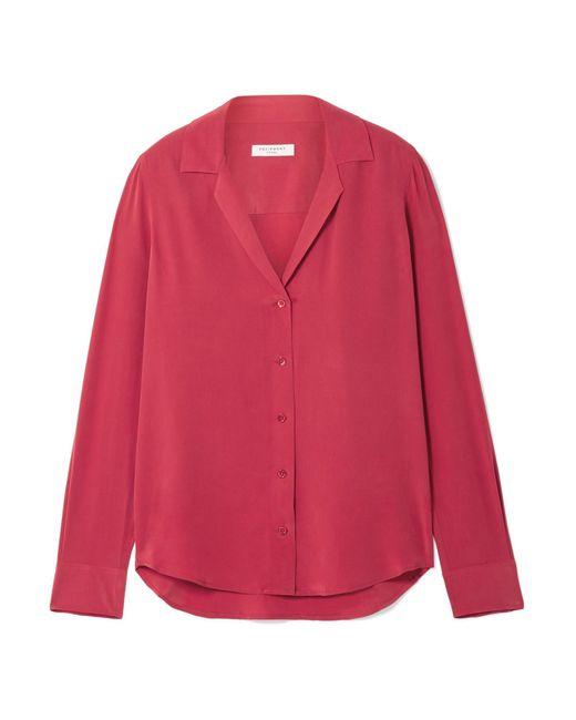 Equipment - Red Adalyn Washed-silk Shirt - Lyst