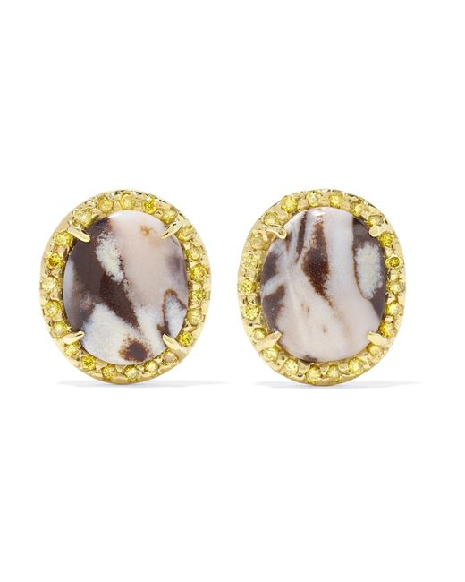 Kimberly Mcdonald - Metallic 18-karat Gold, Opal And Sapphire Earrings Gold One Size - Lyst