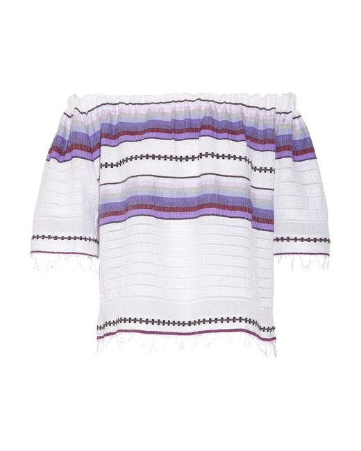 Lemlem | Purple Adia Off-the-shoulder Striped Cotton-blend Gauze Top | Lyst