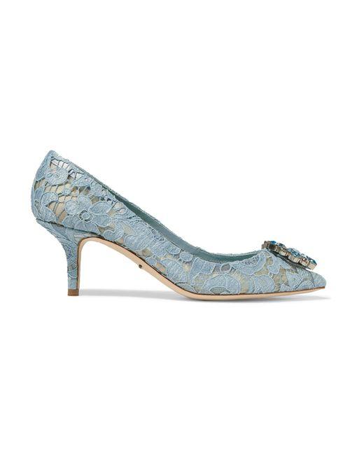 Dolce & Gabbana | Blue Crystal-embellished Lace Pumps | Lyst