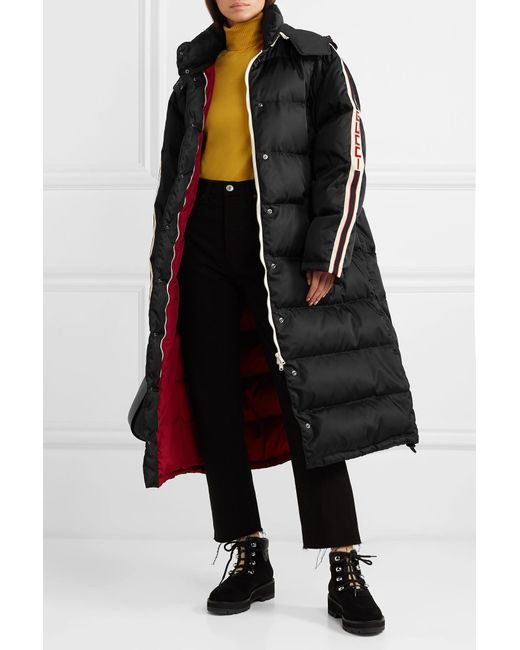 93a0d2a6 ... Gucci - Black Oversized Intarsia-trimmed Quilted Shell Down Coat - Lyst  ...