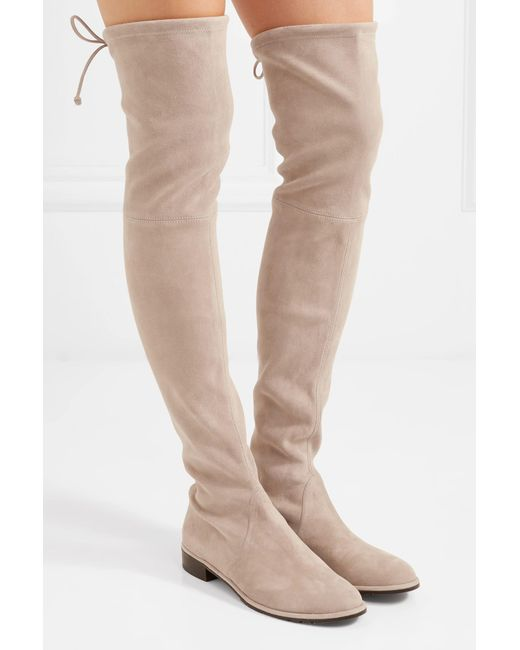 7b2dc95c91a94 ... Stuart Weitzman - Natural Lowland Suede Over-the-knee Boots - Lyst ...