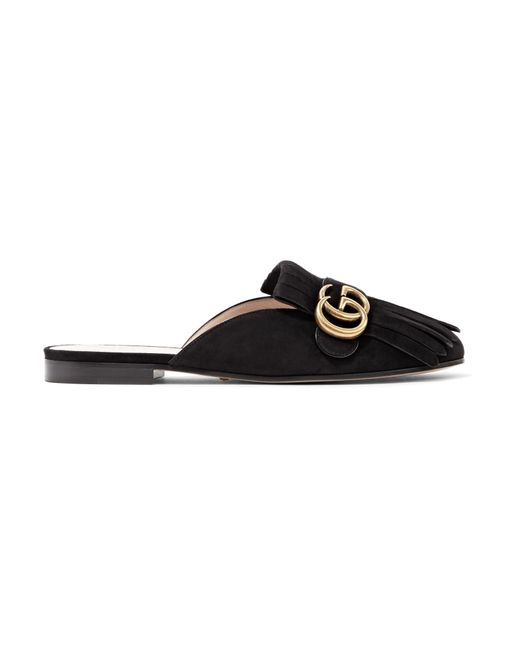 Gucci | Black Marmont Fringed Suede Slippers | Lyst