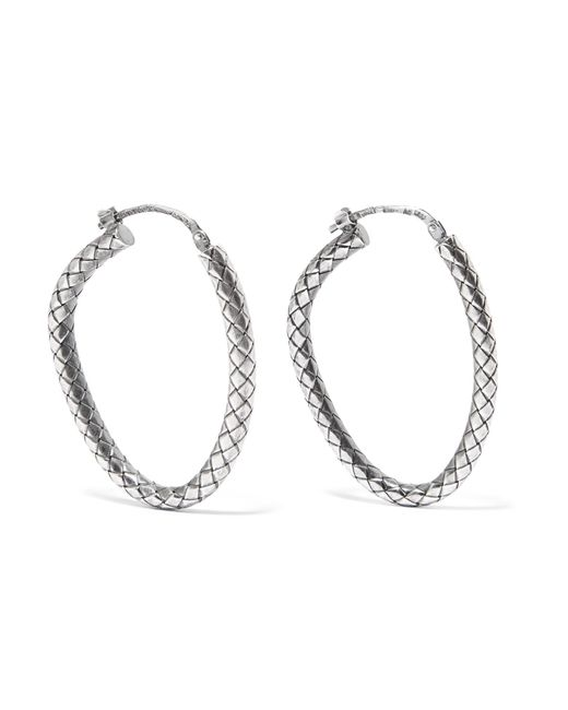Bottega Veneta | Metallic Oxidized Sterling Silver Hoop Earrings | Lyst