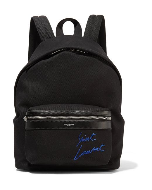 Saint Laurent | Black Leather-trimmed Embroidered Canvas Backpack | Lyst