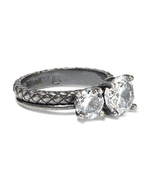 Bottega Veneta | Metallic Oxidized Sterling Silver Cubic Zirconia Ring | Lyst