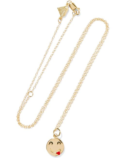 Alison Lou | Metallic Small Tongue Out Enameled 14-karat Gold Necklace | Lyst