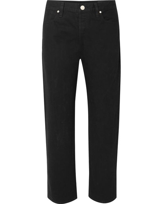 Goldsign - Black The Low Slung Cropped Mid-rise Straight-leg Jeans - Lyst