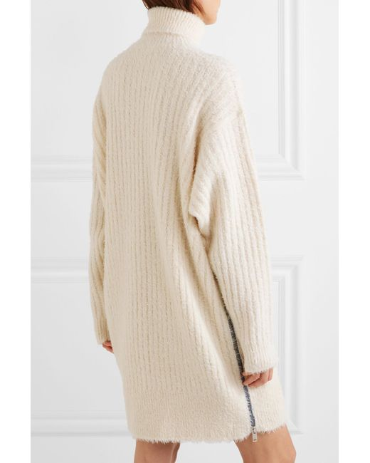 Oversized Ribbed-knit Turtleneck Mini Dress - Ecru Givenchy cihNK