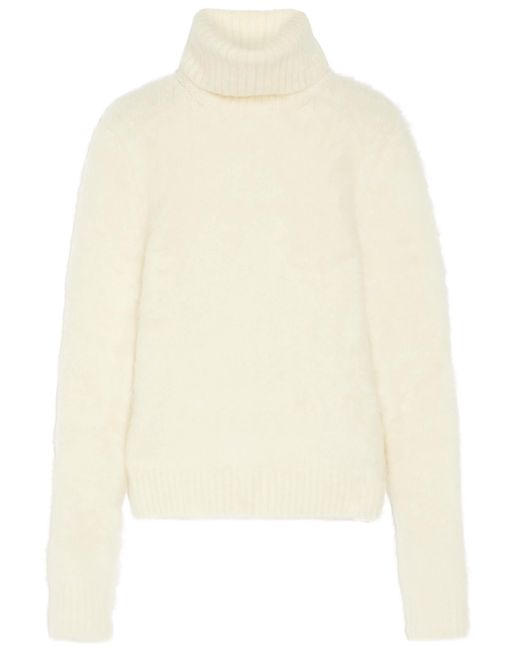 Saint Laurent | White Knitted Turtleneck Sweater | Lyst