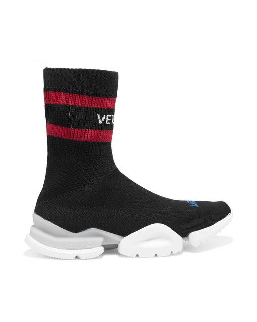 Vetements | Black + Reebok Stretch-knit Sock Sneakers | Lyst