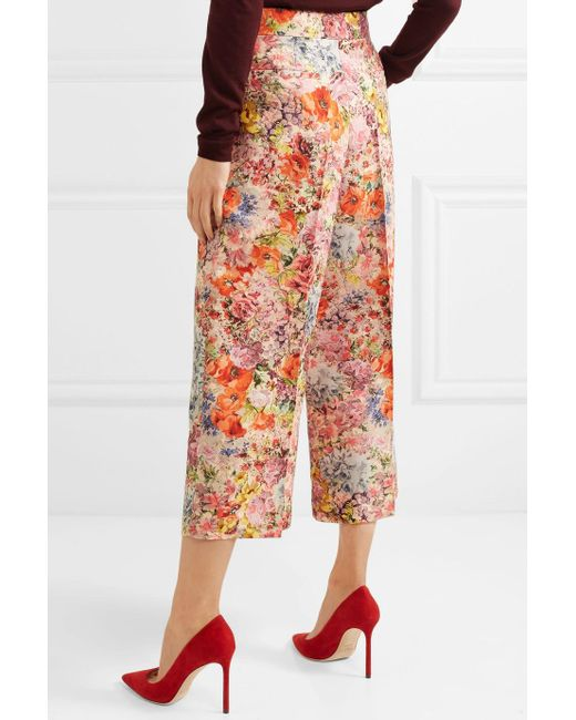 Floral-print Wool And Silk-blend Crepe Culottes - Pink Valentino Poog81