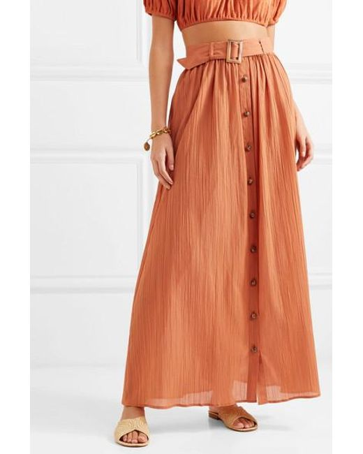 12c8503b2b ... Lisa Marie Fernandez - Orange Belted Cotton-gauze Maxi Skirt - Lyst ...