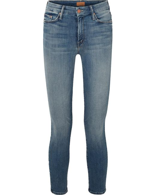 Mother - Blue The Looker Cropped High-rise Skinny Jeans - Lyst