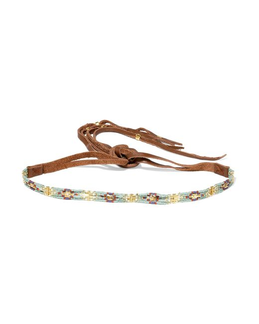 Chan Luu | Brown Leather, Bead And Gold-plated Choker | Lyst