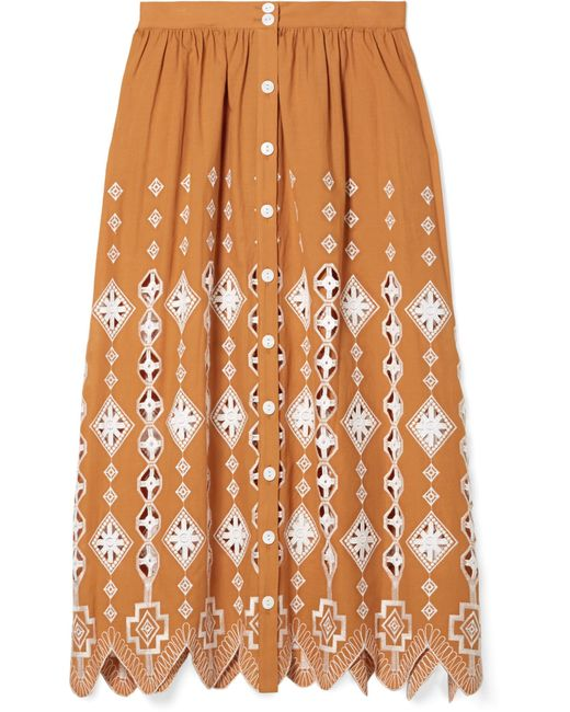 Miguelina - Orange Carolyn Broderie Anglaise-trimmed Cotton Midi Skirt - Lyst
