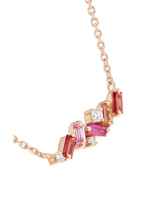 56c21592e6 ... Suzanne Kalan - Metallic 18-karat Rose Gold, Sapphire And Diamond  Necklace - Lyst ...